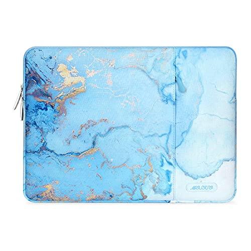 MOSISO Laptop Hülle Kompatibel mit 13-13,3 Zoll MacBook Pro, MacBook Air, Notebook, Polyester Vertikale Aquarell Marmor Sleeve mit Tasche,Türkis