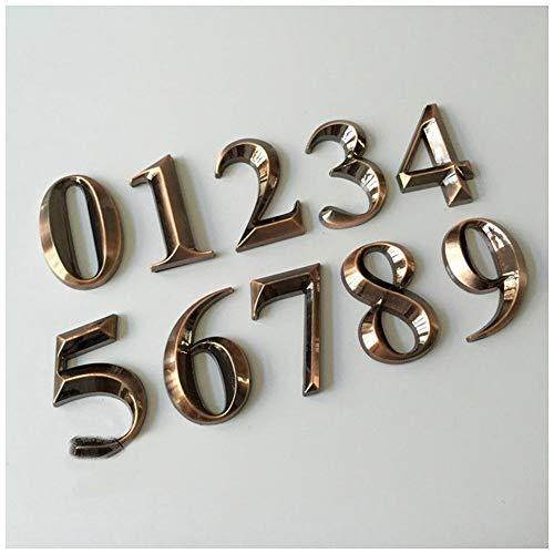 WGD Shuzi 1PC 0-9 Arabische cijfers Plaques, 5×3×0.8CM Hotel Home Deur ABS Plating Aantal cijfers Sticker Plaat Tekenen Plaque