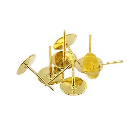 JIAHUI 100 pendientes de tuerca con base en blanco para 4, 5, 6, 8, 10 mm, cabujón cameo ajuste dorado para joyería suministros (color: oro, tamaño: 8 x 12 mm)