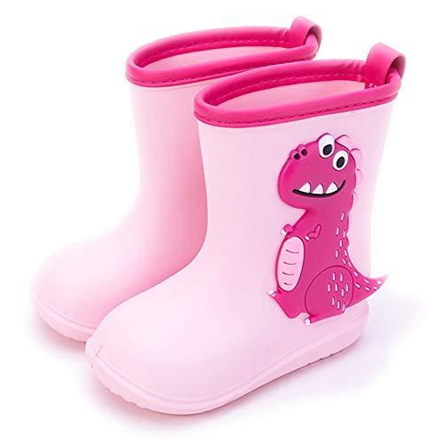 Gainsera Botas de Agua Niña Niño Botas de Agua Lluvia Impermeable y Antideslizante Caucho de EVA Rain Boots, 1102 Rosa 24 EU