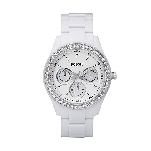 Fossil Women's Stella Quartz Stainless Steel and Resin Multifunction Watch, Color: White/Silver Glitz (Model: ES1967)