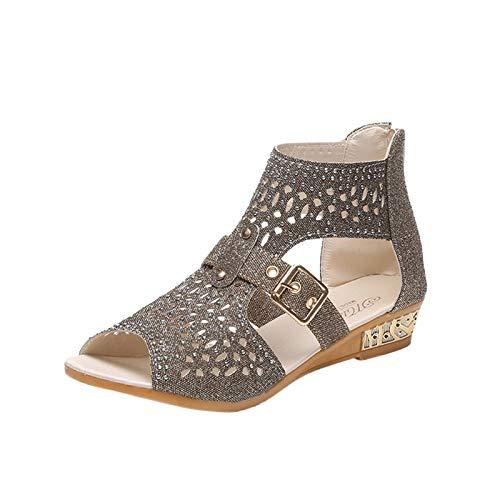 Eaylis Damenmode Vintage Kristall Sandalen Outdoor Hollow Schuhe Out Zip Up Sandalen Schuhe, Frauen Sandalen Offene Schuhe Flip Flops Freizeit Sommerschuhe