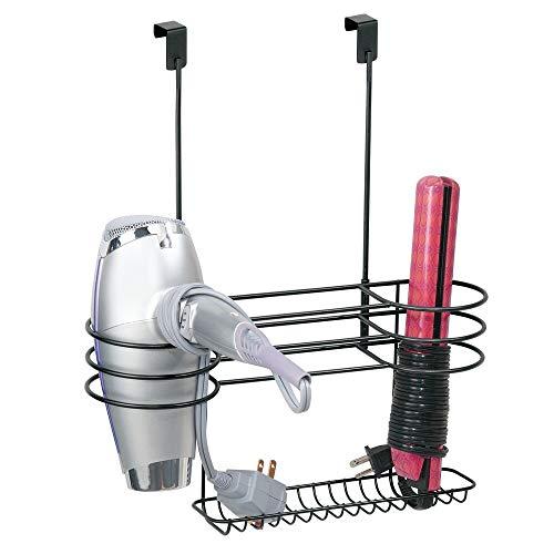 mDesign Soporte para secador de cabello con tres divisiones – Organizador para baño grande de metal para secador, plancha para pelo...