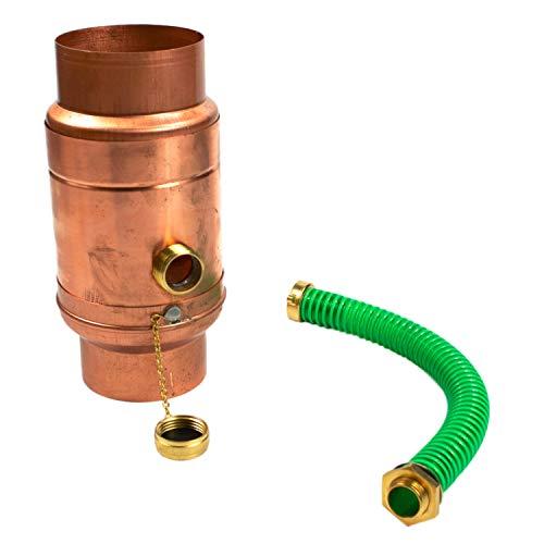 Kupfer Regenwassersammler 100 mm mit Schlauch- und Fassanschluss für...
