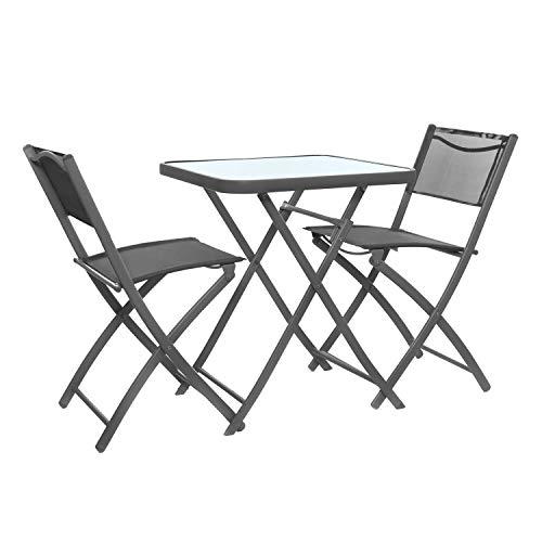 Set tavolo grigio con 2 sedie pieghevoli, in ferro e textilene Grigio