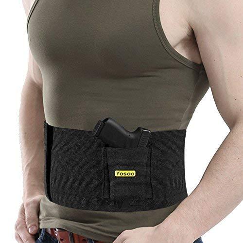 Elastische Taktische Belly Band Taille Pistolenholster Gürtelholster mit 2 Magazintaschen Holster schreckschußwaffen schulterholster Schwarz, Verstellbares Taillenholster mit doppelten Ladetaschen