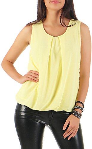Malito Damen Bluse ärmellos   Tunika mit Rundhals   leichtes Blusenshirt   Elegant - Shirt 6879 (gelb)
