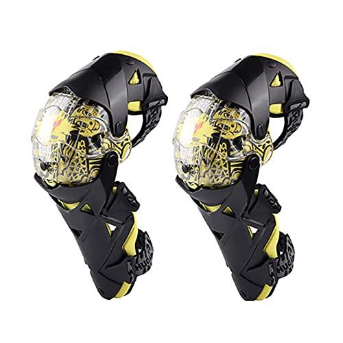 VOMI Rodilleras Enduro MTB, PC + PE Shell, Protección de Rodilla Adultos Espinillera Moto Hombre para Bici Motocross Motocicleta Ciclismo, Negro Blanco/Azul/Amarillo,Amarillo