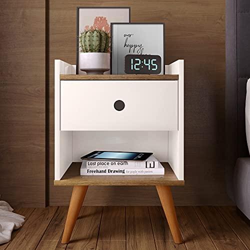 Mesa de cabeceira Retrô Decore 1 Gaveta - Off White/Freijo - RPM Móveis