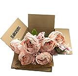 Ramo de Flores Peonía Artificial Vintage para decoración del Hogar, Bodas, Fiestas (Rosa Claro)