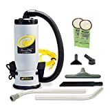 ProTeam Commercial Backpack Vacuum, QuietPro BP Vacuum Backpack with HEPA Media Filtration and Carpet Two-Piece Wand Tool Kit, 6 Quart, Corded