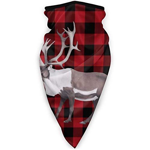 KKs-Shop Arctic Reindeer Caribou Plaid Unisex Variety Schal Wickel Kopftuch Kopfbedeckung Hals Gamaschen Kopftuch Gesicht Schwarz SFK-332