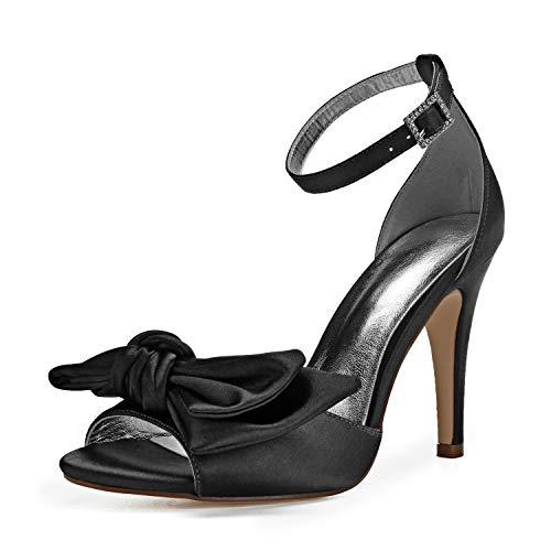 Sandalias De Mujer Latina Zapatos De Baile De Diamantes De ImitacióN SúPer Satinados De TacóN Alto De Cuerno De 2.7 Pulgadas,Negro,39