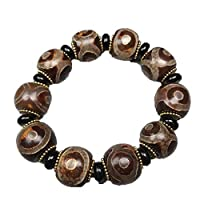 ZHIBO Armband, tibetischer Achat, drei Augen, Dzi Perlen, Armband mit Zertifikat