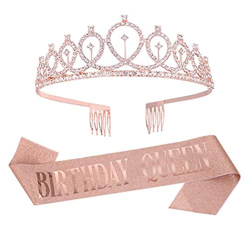Heyu-Lotus Corona de cumpleaños con corona de reina y tiara, corona de diamantes de imitación de cristal para regalo de feliz cumpleaños, fiestas, regalos, decoraciones
