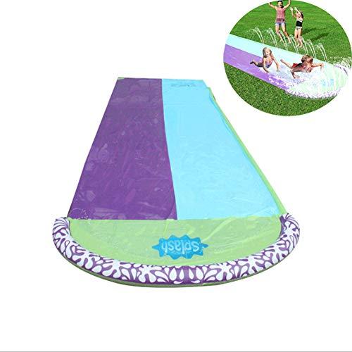 MAQRLT Doppel aufblasbares Wasser-Ski-Tuch, Rasen Wasserrutschen Kinderwasserpool des Gras im Freien Wasser-Ski Wasserrutsche Sommer-Wasser-Entertainment Zubehör
