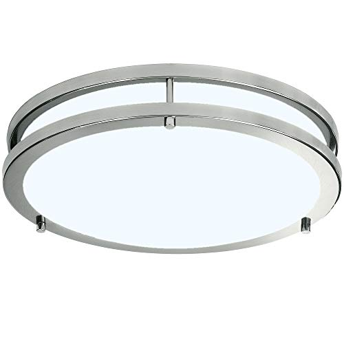 LB72162 LED Flush Mount Ceiling Light, 12 inch, 15W (150W Equivalent) Dimmable 1200lm, 5000K Daylight, Brushed Nickel Round Lighting Fixture for Kitchen,Hallway,Bathroom,Stairwell