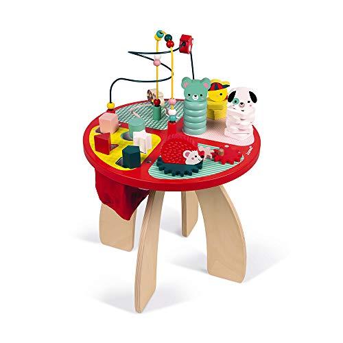 Janod- Table d'activités Baby Forest Grand Jouet d'Éveil pour Encastrer, Empiler, Manipuler-avec Labyrinthe, Boulier, Engrenage et 3 Animaux en Bois, J08018, Dès 1 an