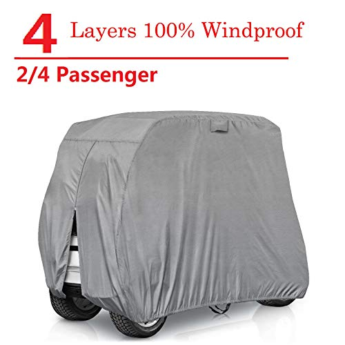 RVMasking Golf Cart Cover Extra-Thick 4-ply for 2/4 Passenger Yamaha, Club Car, EZ Go - Heavy Duty Waterproof Golf Cart Covers with Rear Zipper (2 Passenger Golf cart Cover)