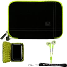 Green Black Limited Edition Stylish Sleeve Premium Cover Case with Aerotechnology Protection and with front pocket for accessories For Barnes & Noble NOOK COLOR eBook Reader Tablet + Includes a eBigValue (TM) Determination Hand Strap + Includes a Crystal Clear HD Noise Filter Ear buds Earphones Headphones ( 3.5mm Jack )