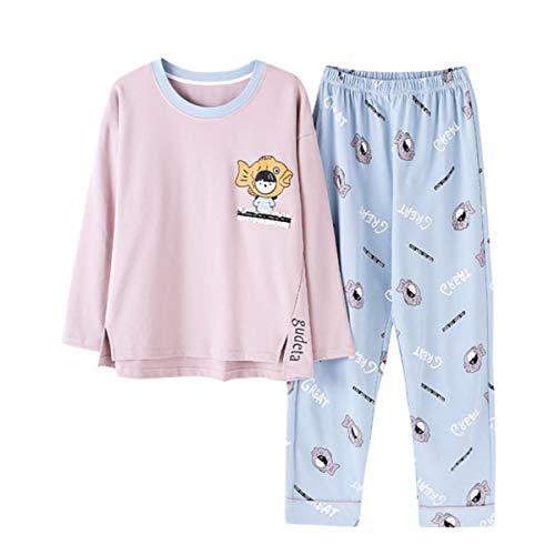 GOSO Pijama para niñas 8 9 10 11 12 13 – 14 años Lindo Pijama para niñas Adolescentes con Estampado de Dibujos Animados Tops y Pantalones Largos Big Tween Girl Nightwear Set