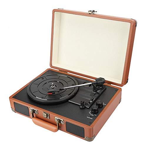 Goshyda Tocadiscos de Vinilo, Tocadiscos Bluetooth, Maleta portátil, Tocadiscos de Vinilo Vintage de 3 velocidades con Altavoz estéreo Incorporado, para grabación de 18/20/30 cm(EU)