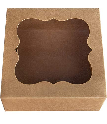 [25pcs]ONE MORE 6'x6'x3'Brown Bakery Boxes with PVC Window for Pie and Cookies Boxes Small Natural Craft Paper Box 6x6x3inch,Pack of 25