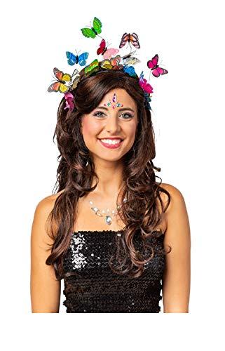 narrenkiste O22070-50 - Diadema multicolor con diseo de mariposa, talla nica