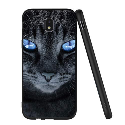 Pnakqil Samsung Galaxy J5 2017 Custodia, Cover Silicone Nero con Disegni 3d Pattern Ultra Slim TPU Morbido Antiurto Bumper Case Protettiva per Samsung Galaxy J5 2017, Gatto Dagli Occhi Blu