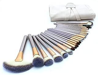 Yoa 24 Piece Brush Set | Horse Hair Professional Kabuki Makeup Brush Set Cosmetics Foundation Makeup Brushes Set Kits with White Cream-colored Case Bag