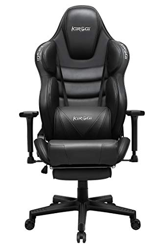 Kirogi Gaming Stuhl Ergonomischer Racer Gaming Stuhl 160kg Gaming büro Sessel Leder mit Fußstütze und Muskeldesign PC Stuhl Gaming Verstellbarer Multifunktions-Sessel mit überfülltem Kissen, Schwarz