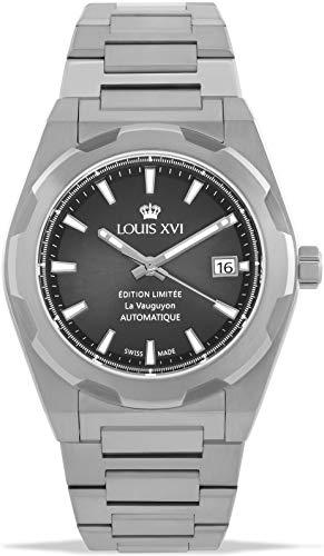 LOUIS XVI La Vauguyon 1036 - Reloj de pulsera para hombre con correa de acero plateado gris Super-LumiNova