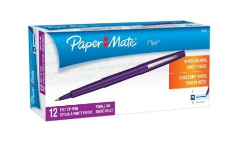 Paper Mate Flair Felt Tip Pens, Medium Point 1.0mm (2-Dozens, Purple)