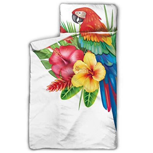 N\A Wunderschönes buntes Particluar Parrot Travel Schlafsack für Kinder Kinderschlafsäcke mit Decke und Kissen Rollup Design Ideal für Kindertagesstätten im Vorschulalter Übernachtungen 50