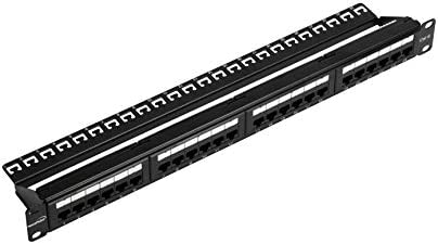 NavePoint Rackmount or Wallmount 24-Port Cat6 Patch Panel RJ45 Ethernet 568A/B Compatible