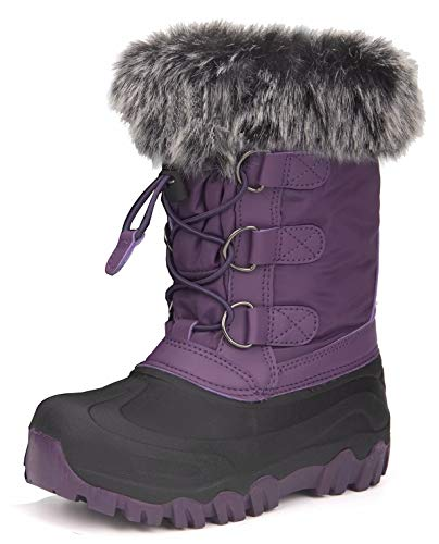 HugRain Toddler Girls Snow Boots for Kids Winter Warm Fur Lined Faux Rubber Lightweight Rain Boots Solid Adorable Waterproof Outdoor Shoes Faux Fur Design Closure Elastic Cinch (Size 5,Purple)