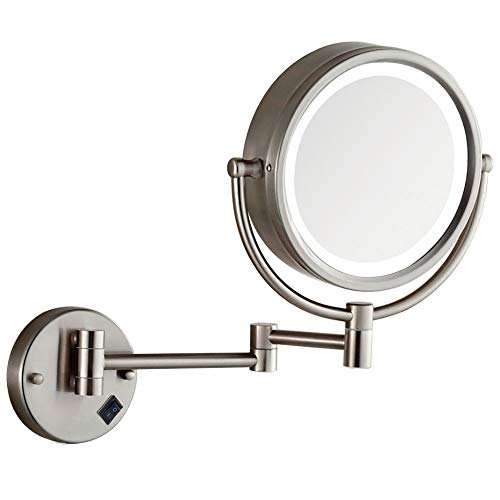 Makeup Mirror Wall Mount Lighted with 10X Magnification, Direct Wire,8Inch Cordless Not Batteries Operated, Hardwire Brushed Nickel