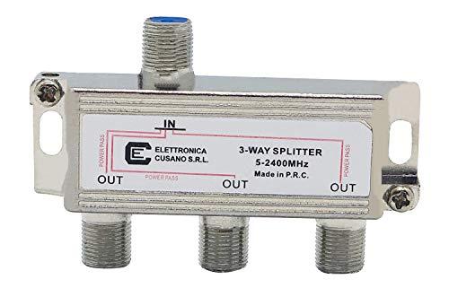 Elettronica Cusano 6333 - Splitter Satellitare 3 Vie, Partitore Antenna TV da Interno con Connettore F, Splitter Satellitare, Ripartitore Antenna TV, Partitore TV SAT, Ripartitore a 3 Uscite