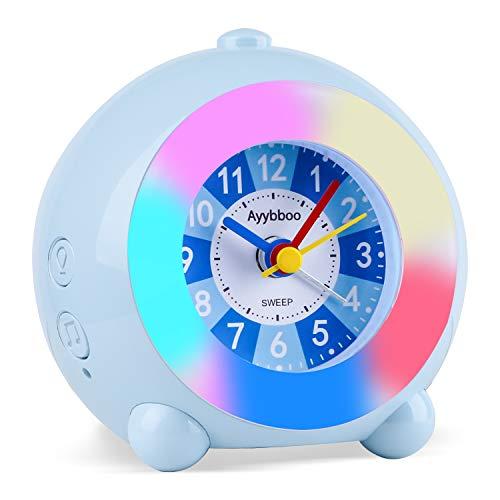 Kinderwecker Analog, Wecker Analoger 7 LED Farblichter 6 Klingeltöne Kinderwecker für Mädchen Jungen mit Bunte Lichter Leiser Wecker Ohne Ticken Schlafzimmer (Blau)
