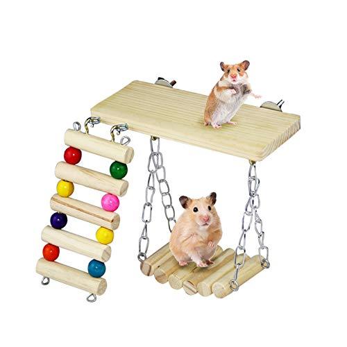 Andiker - Juguetes de ejercicio para hámster de 3 piezas, juguetes para masticar colgantes de madera para hámster, accesorios para la jaula del cerdo de la India y del animal pequeño