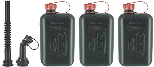 FuelFriend®-Big max. 2,0 Liter - Klein-Benzinkanister Mini-Reservekanister mit UN-Zulassung + Auslaufrohr-Set - im Dreierpack