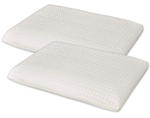 Marcapiuma - Pack de 2 Almohadas Viscoelásticas Memory Foam 70 cm Modelo Jabón Perforado con Funda 100% ALGODÓN - Almohada Cervical Ortopédica - Producto Sanitario CE - 100% Fabricadas en Italia