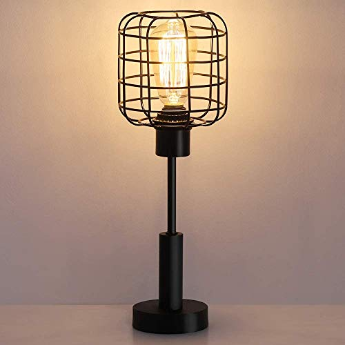 HAITRAL Lámpara de escritorio industrial moderna, Edison vintage, lámpara de mesita de noche para dormitorio, oficina, dormitorio o sala de estar