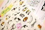 BLOUR 6 Hojas/Set Libro planificador móvil Pegatina Gato Diario Libro de Recuerdos Calendario Cuaderno Etiqueta decoración