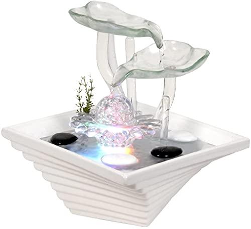 WeiVa Feng Shui Keramik Glas -Zimmerbrunnen mit LED Beleuchtung 171