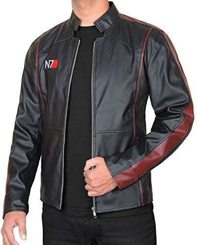 III-Fashions N7 Jacket - Commander Shepard Effect 3 Fighter Motorcycle Black Leather Jacket Cosplay Costume