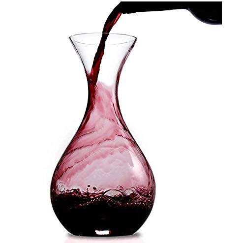 JUSTINZ 1.2L Wine Decanter Aerator, grote buik ronde vorm - 100% hand geblazen loodvrij kristal glas, elegante rode wijn en likeur karaf set, geschenk voor vrienden en familie.