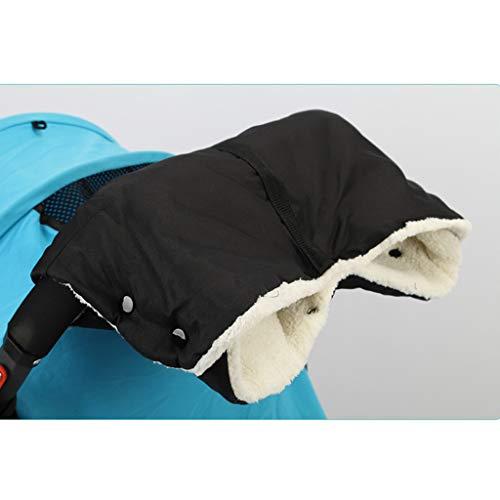 Manyo - Guante para cochecito, protector de manos, manoplas cortavientos, impermeable, accesorio para cochecito anticongelante, guantes cálidos de invierno (negro)