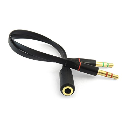 iXium® 3,5 mm Vrouwelijke naar 2 Mannelijke Hoofdtelefoon Headset Microfoon Y Splitter Audio Adapter Kabel voor PC Computer en Laptop Zwart