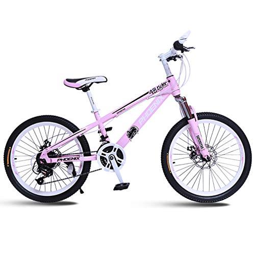 YAOXI Mountainbike Mit Stoßdämpfung Der Federgabel, Rahmen Aus Kohlenstoffstahl 21 Gang Rutschfester Griff Fahrrad Doppelscheibenbremse Kinderfahrrad,White/pink,22Inch